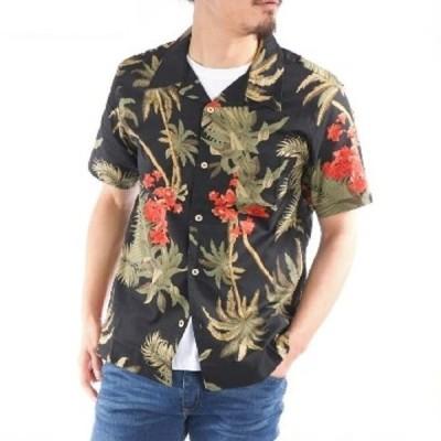 アロハシャツ 綿100% ヤシ 花 総柄 ハワイアン リゾート