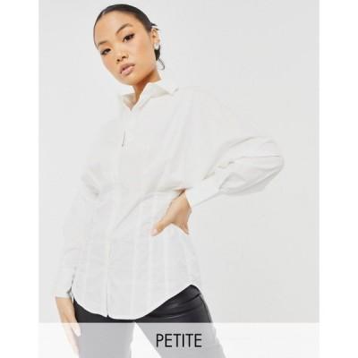 ワイ エー エス Y.A.S Petite レディース ブラウス・シャツ トップス Shirt With Pleated Synched In Waist In White ホワイト