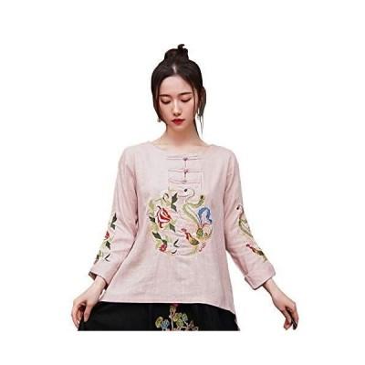 (上海物語)Shanghai Story 長袖 中華スタイル 綿麻 鳳凰牡丹刺繍 チーパオシャツ ブラウス トップス チャイナ ブラウス チ