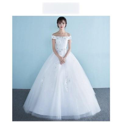 花嫁ドレスウェディングドレスウエディングドレス編み上げレース刺繍ドレスロングドレス花嫁ドレスベアトップビスチェ二次会