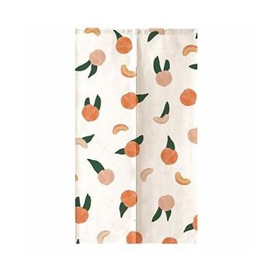 オレンジ Design のれん もも 果物 白 ピンク 背景 水彩 芸術 絵画 綿麻 リビングルーム ポーチ 洗面所 台所用 間
