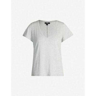 ペイジ PAIGE レディース Tシャツ Vネック トップス Zaya V-neck cotton and modal-blend T-shirt HEATHER GREY