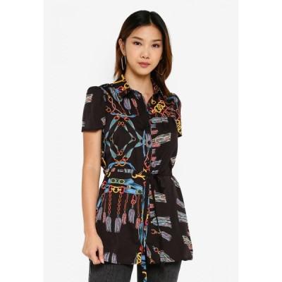 サムシングボロウド Something Borrowed レディース ブラウス・シャツ トップス Relaxed Shirt with Self Tie Black/Multi