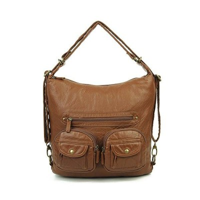 Convertible Purse - Both Backpack and Shoulder Bag in Soft Vegan Leather (Brown)【並行輸入品】
