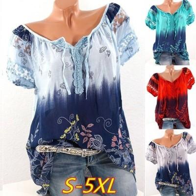 Tシャツ 半袖 スリットネック レディース トップス カットソー レース シールスー 透かし 花柄 フラワー 葉っぱ リーフ おしゃれ きれいめ 可愛