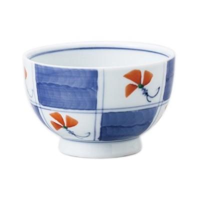 千茶 和食器 / 染錦市松小花高浜千茶 寸法: 8.8 x 6.3cm