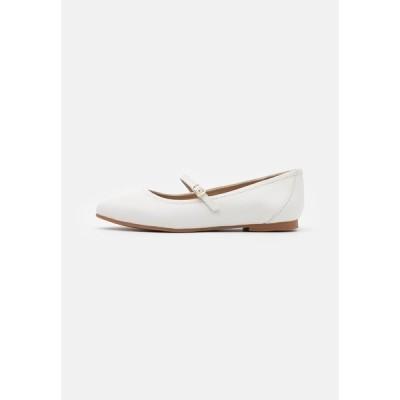 アンナフィールド パンプス レディース シューズ Ankle strap ballet pumps - white