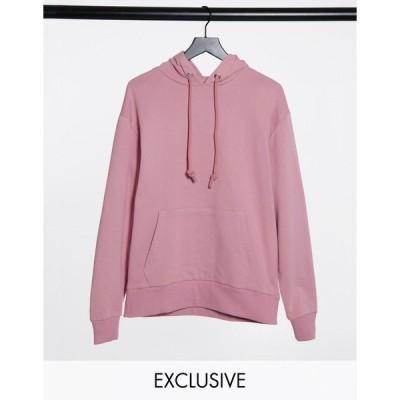 コリュージョン レディース パーカー・スウェットシャツ アウター COLLUSION Unisex hoodie in pink Pink