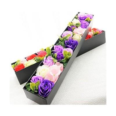 Bio-BIOBIO-ローズBOXスリム-フレグランスソープフラワー-ふた付きボックス-お祝い-記念日-お見舞い-バレンタインデー-ホワイトデー-母の日-パープル