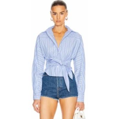 マリッサ ウェッブ Marissa Webb レディース ブラウス・シャツ トップス emmerson striped shirt French Blue/Dark Blue Stripes