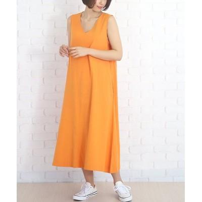 【アミュレット】 ノースリーブ Aラインワンピース 夏 レディース ドレープ感 レディース オレンジ L Amulet