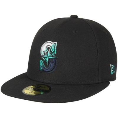 ユニセックス スポーツリーグ メジャーリーグ Seattle Mariners New Era Color Dim 59FIFTY Fitted Hat - Black 帽子