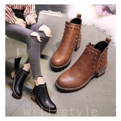 サイドゴアブーツウエスタンブーツワークブーツ厚底防寒靴ショートブーツ革靴レディースシューズ