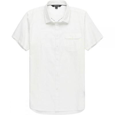 ストイック Stoic メンズ 半袖シャツ トップス Solid Texture Short-Sleeve Button-Down Shirt White