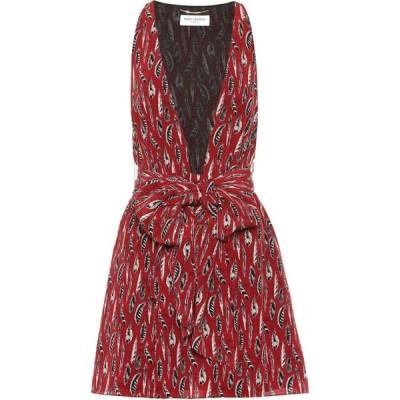 イヴ サンローラン Saint Laurent レディース ワンピース ワンピース・ドレス printed silk minidress Rouge Noir