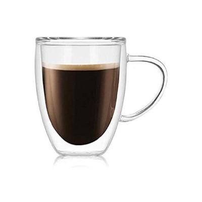 morningplace ダブルウォール グラス タンブラー マグカップ 二重構造 耐熱 カップ (350ml) (350ml)