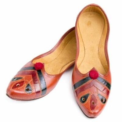 インドのマハラニ レザーフラットシューズ / パンプス 靴 ペッタンコ靴 アジア サンダル レディース エスニック衣料 アジアンファッショ