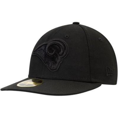 ユニセックス スポーツリーグ フットボール Los Angeles Rams New Era Throwback Logo Low Profile 59FIFTY Fitted Hat - Black 帽子