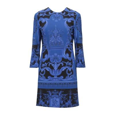 VERSACE ミニワンピース&ドレス ブルー 38 コットン 48% / レーヨン 48% / ポリウレタン 4% ミニワンピース&ドレス