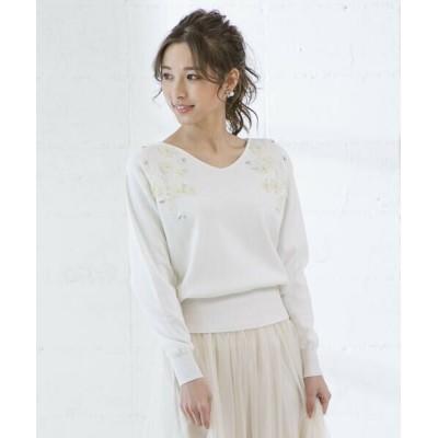 QUEENS COURT/クイーンズコート フラワー刺繍ニット ホワイト M