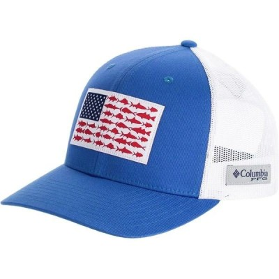 コロンビア 帽子 メンズ アクセサリー PFG Mesh Fish Flag Snap Back Trucker Hat Vivid Blue/White