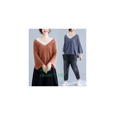 セーター ニット レディース ゆったり おしゃれ 秋物 重ね着風 長袖 薄手 大きいサイズ 体型カバー 着痩せカジュアル 新作