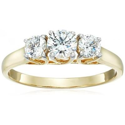 アマゾン・コレクション 指輪 レディース用 10k Yellow Gold 3-Stone Round Ring Made with Swarovski Zirconia (1 cttw), Size 8