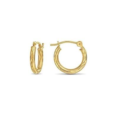 【新品】14Kイエローゴールド手刻印ダイヤモンドカットラウンドフープイヤリング、( 0.5インチ直径