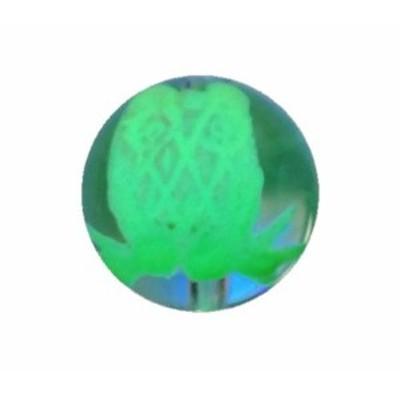 フクロウ 水晶手彫り玉 (夜光)縦穴 1粒売り 手作りにオススメ! 天然石 パワーストーン