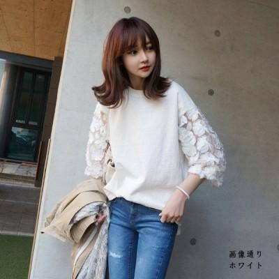 ブラウストップスシフォンTシャツレディース春夏涼しいフリル体型カバーふんわり刺繍ゆったり軽い大人気新作大きいサイズ