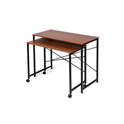 イーサプライ 親子テーブル ネストテーブル 拡張 作業台 学習机 クランプ対応 テレワーク 在宅勤務 省スペース 収納 木目調 EZ1-DESKN00
