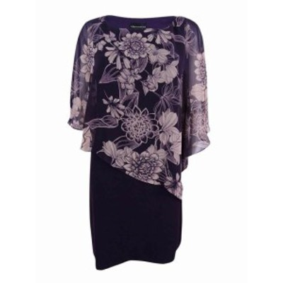 ファッション ドレス Connected Apparel Womens Purple Size 4P Petite Floral Cape Sheath Dress