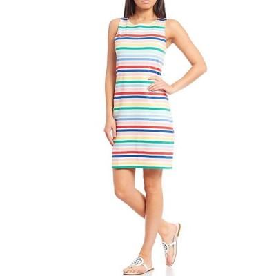 ジュールズ レディース ワンピース トップス Riva White Multi Stripe Sleeveless Cotton Sheath Dress