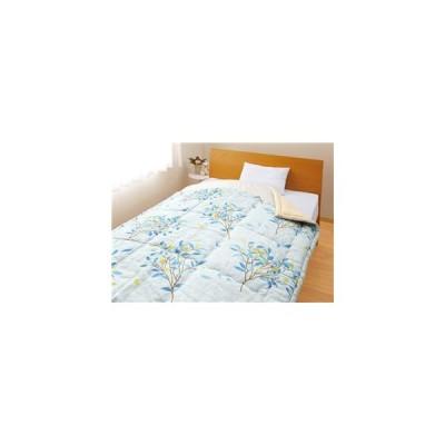 メキシコ綿入り 肌掛け布団 【ひより ブルー1枚】 シングル 日本製 綿100% 〔ベッドルーム 寝室〕【代引不可】