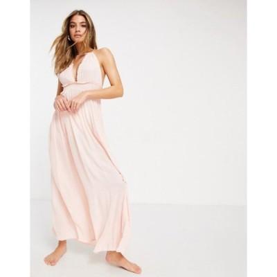 エイソス レディース ワンピース トップス ASOS DESIGN halter tiered maxi beach dress in pink metallic stripe crinkle