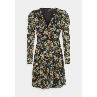 ヴェロモーダ レディース ドレス VMKAMMA NECK WRAP DRESS - Day dress - black/flower