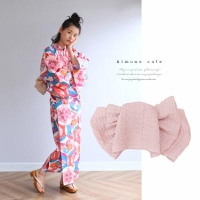浴衣 セット 2点セット レトロ丸紋 ピンク 麻 兵児帯 浴衣セット kimonocafe フリーサイズ Sサイズ ワイドサイズ TLサイズ