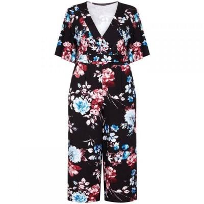 メラ ロンドン Mela London Curve レディース オールインワン ジャンプスーツ ワンピース・ドレス Floral Print Jumpsuit With Belt Black