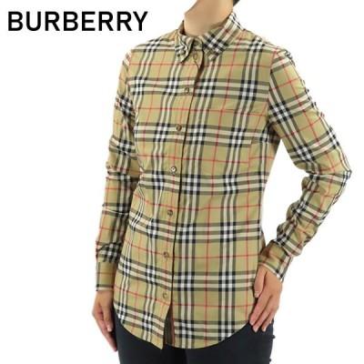 BURBERRY バーバリー CHECK SHIRTS 8022284 A7028 アーカイブ ベージュ チェック シャツ ブラウス ロゴ レディース