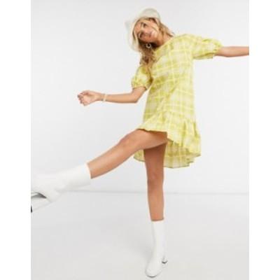 トップショップ レディース ワンピース トップス Topshop printed mini poplin dress in yellow check Yellow check