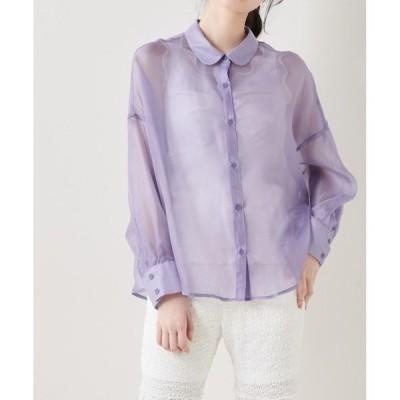 シャツ ブラウス オーガンジーゆるシャツ