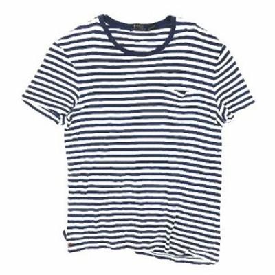 【中古】ポロ ラルフローレン POLO RALPH LAUREN ボーダー柄 Tシャツ カットソー 半袖 胸ポケット L ネイビー ◎12