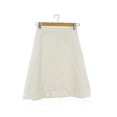 【中古】未使用品 アナトリエ ANATELIER スカート フレア ひざ丈 ツイード 36 白 ホワイト /AAM25 レディース 【ベクトル 古着】