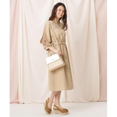 Couture Brooch(クチュールブローチ) 【WEB限定(LL)サイズあり/洗える】リネンライク袖デザインワンピース