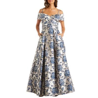 モルガン レディース ワンピース トップス Women's Off the Shoulder Jacquard Metallic Ballgown