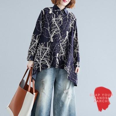 大きいサイズ シャツ トップス レディース ファッション ぽっちゃり おおきいサイズ 対応 オーバーサイズ ツリー柄 ビッグシルエット M L LL 3L 秋冬
