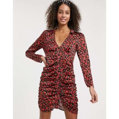 エイソス ASOS DESIGN レディース ワンピース ワンピース・ドレス ruched button through mini dress in satin floral print ブラック/フローラル