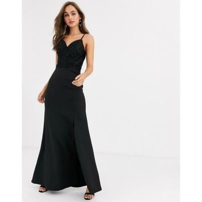 チチロンドン レディース ワンピース トップス Chi Chi London lace detail maxi dress with fishtail skirt in black