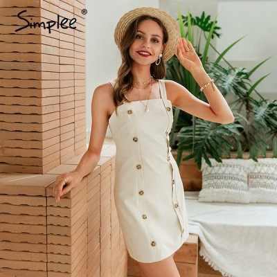 【1月末で販売終了】 スパゲッティ ストレート ボタン ドレス カジュアル