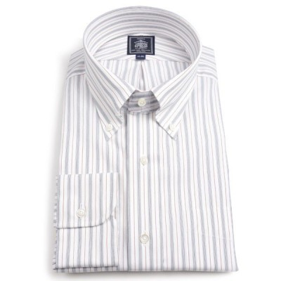 Jプレス メンズ J.PRESS MEN'S ボタンダウンシャツ マルチオルタネイトストライプ ブラックxワイン プレミアムプリーツ・ウオッシュ アンド ウェア